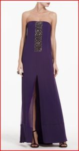 BCBG EXENE PERSIAN PURPLE CENTER BEADED CRINKLE CHIFFON GOWN 4 NWT 478