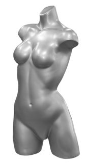 Female Torso Lingerie Fashion Form Clothes Retail Store Display Silver