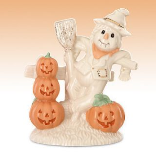 Lenox Halloween Scarecrow Figurine Orange Pumpkins Broom Country Decor
