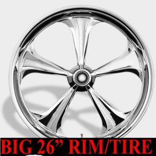 Rim and Tire 26 Harley Street Road Glide Package Chrome Black