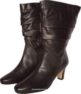 Fitzwell $189 Ceylon Extra Wide Calf Brown Leather Boots 13 M New