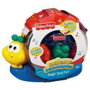 Fisher Price Baby Toy Bright Beginings Singing Singin Snail Pail New
