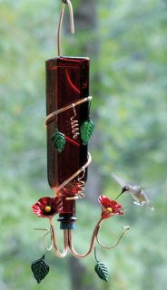 Rocco Red Glass Hummingbird Feeder with Copper Feeding Tubes by Perry
