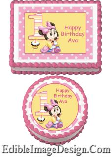 Baby Minnie First 1st Birthday Edible Party Cake Image Cupcake Topper