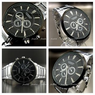 Water Hand Hours Clock Analog Men Fashion Black Silver Steel Wrist