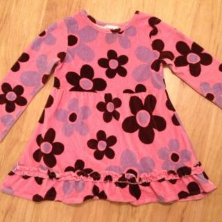 Flapdoodles Pink Velour Flower Power Dress Size 5