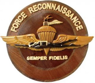 Marine Corps Force Recon Plaque Handcrafted Wooden Plaque USMC Emblem