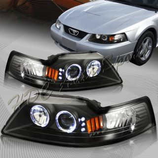 99 04 Ford Mustang SVT Cobra GT Halo LED Projector Black Housing