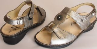 Finn Comfort Womens Sz 4 5 M Adana Leather Ankle Strap Sandals Pewter