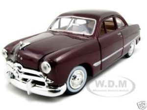 1949 Ford Coupe Burgundy 1 24 Diecast Model Car