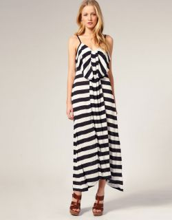 French Connection Bold Stripe Bow Front Long Stripe Summer Maxi Dress