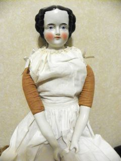 25 Big Beautiful Flat Top Center Part Antique China Doll