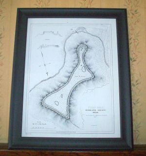 FORT HILL Survey Map by Squire Davis HIGHLAND COUNTY OHIO Framed