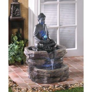 GORGEOUS BUDDHA ZEN WATER FOUNTAIN~LED LIGHTS~INDOORS or OUT~BIG