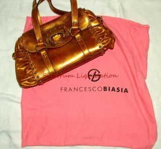Francesco Biasia Metallic Gold Studded Leather Purse Handbag Shoulder