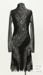 Fuzzi Black Gray Fur Print Mesh Long Sleeve Turteneck Dress Size M