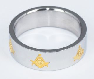 Shinning Chrome Engraved Gold Freemason Masonic Ring USA Sale