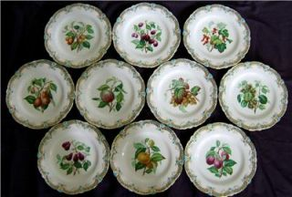Finest Quality Set of 10 Antique Hand Painted Porcelain English