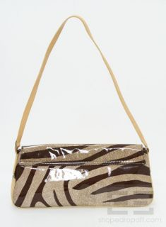 Francesco Biasia Tan Brown Leather Patent Animal Print Handbag