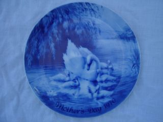 Vintage Mother's Day Swan Plate Royal Blue Winter China 1970 Germany