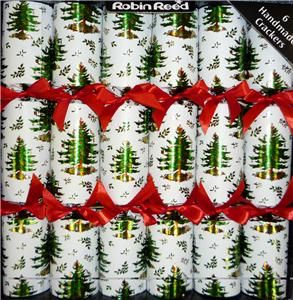 Luxury Creamy White Spode Tree Print Christmas Crackers Large Adult