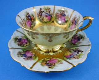 Handpainted Fragonard Love Story CN Western Germany Tea Cup and Saucer