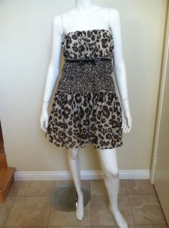 GIAMBATTISTA VALLI FOR IMPULSE STRAPLESS LEOPARD PRINT DRESS SZ 8