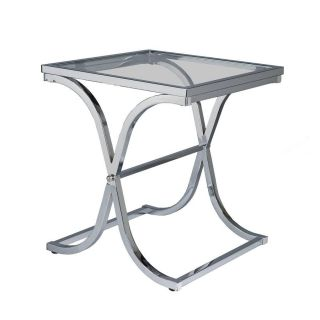 Transitional Glass Chrome End Table Accent Table New