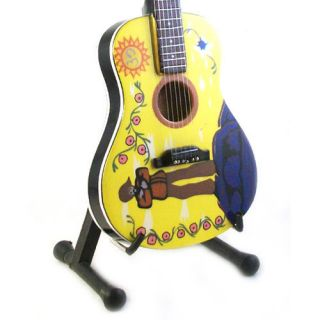 MINIATURE GUITAR GEORGE HARRISON GIBSON J 160e YELLOW PSYCHEDELIC FREE