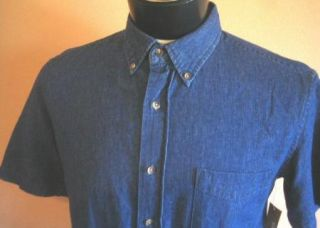 New George Blue Jean Indigo Denim Shirt M s s Soft Casual Cotton