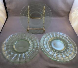 Depression Green Glass Block Optic Sherbet Plates Anchor Hocking