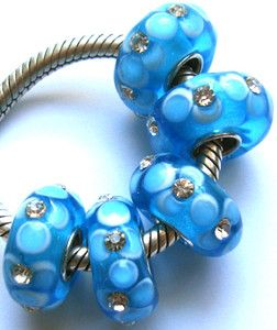5pcs Blue Flowers Crystal Glass Beads With CZ Fit European Charm
