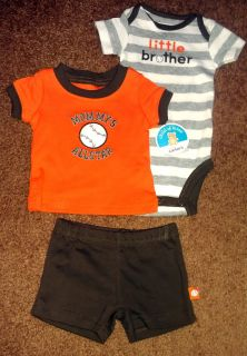 NEW NWT Boys Carters Newborn 3 Piece Set Shirt Bodysuit Shorts Little