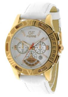 GIANFRANCO GF FERRE Chronograph Mens New Gold Tone Steel Watch White