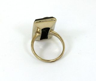 Antique Victorian 10K Gold Onyx Diamonds Ladies Trendy Ring