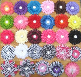 20 4Gerbera Daisy Flower Clips Baby Hair Bow Headband