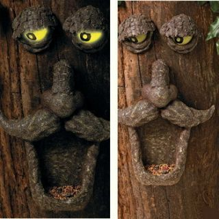 Laughing Tree Face with Glow in The Dark Eyes Bird Feeder Garden Lawn
