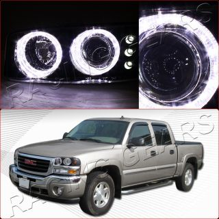 00 06 GMC Yukon Sierra Black Housing Dual Angel Eye LED Projector