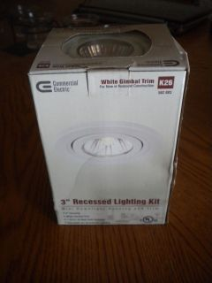 Electric 3 Recessed Lighting Kit White Gimbal Trim Model K26
