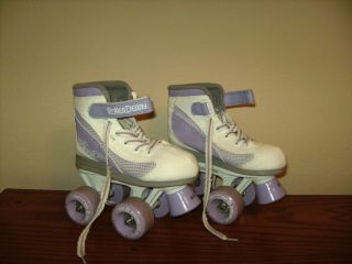 ROLLER DERBY PURPLE SKATES GIRLS YOUTH KIDS JR SIZE 12 FIRE STAR USA
