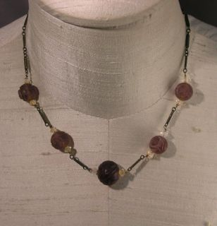 Chinese Art Deco Amethyst Bead Sterling Link Necklace