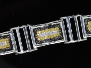 Mens White Gold Finish Black Diamond Bracelet Pave 3ct