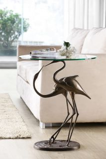 Loving Cranes Accent Glass End Table Bird Birds Nature