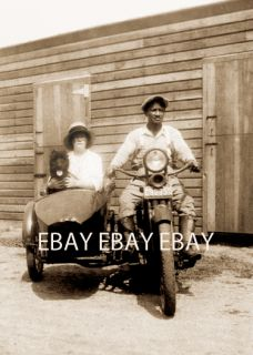 BLACK MAN & WOMAN ON A HARLEY DAVIDSON MOTORCYCLE & SIDECAR & SCOTTIE
