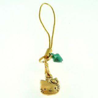 Gold Tone Hello Kitty Cell Phone  Charm with Bell