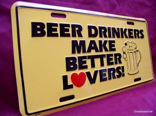 LOVE BEER DRINKERS LOVERS Funny Colors Metal Car Tag License Plate