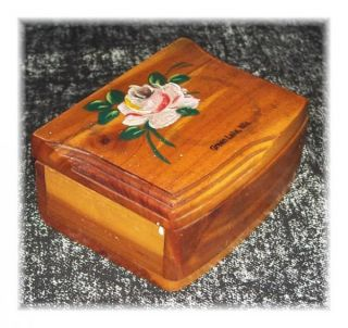 Cedar Wood Trinket Box Chest Hand Painted Rose Green Lake Wis
