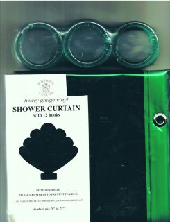 Emerald Green Heavy Vinyl Shower Curtain w Rings New