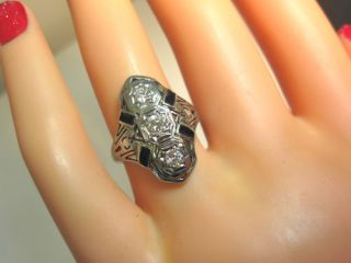 Vintage Antique Art Deco 3 Diamond 18K White Gold Filigree Enamel