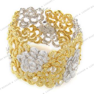 18K White and Yellow Gold Diamond Flower Bracelet